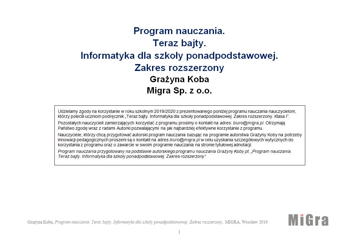 Program nauczania – zakres rozszerzony
